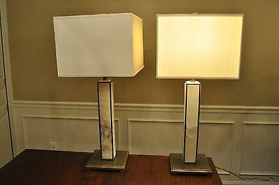 Pair Of Decorative Crafts Antiqued Brass And Alabaster Lamps