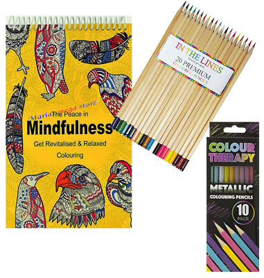 Adult Anti Stress Therapy Colouring Book + 24 FELT TIP PENS + 20 PREMIUM Pencils