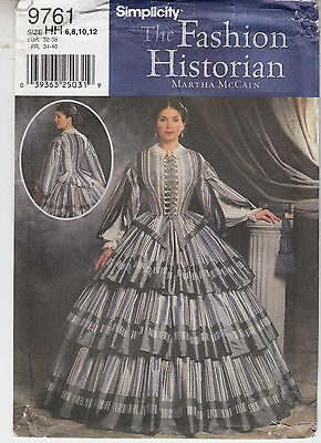 Simplicity 9761 Civil War Costume Top Skirt Fashion Sewing Pattern Szs 6-12