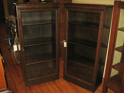Pair! Quartered Dark Mission Oak Bookcases Matching 1910's Arts & Crafts