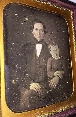 Daggereotype Father & Son Nice Clean Image With Push Button Leather Case