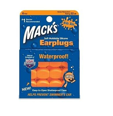 Macks 6 pair KIDS swimming ear plugs soft swimmers Orange childrens youth 22db