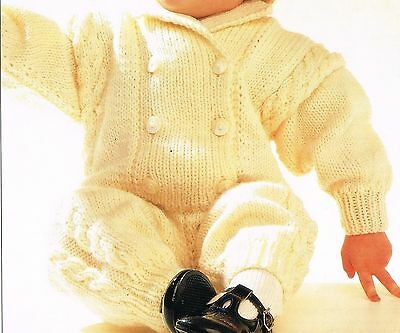 """Knitting Pattern: BABY'S ARAN ALL-IN-ONE KNITTING PATTERN for 3 sizes 18""""-22"""""""