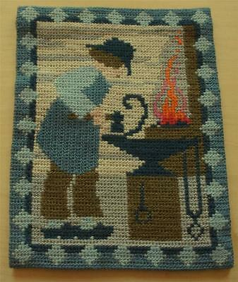 Swedish wool twist-stitch-embroidered sampler, blacksmith at forge with fire