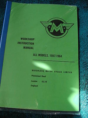new MATCHLESS WORKSHOP MANUAL essential reference book for all models 1957-1964