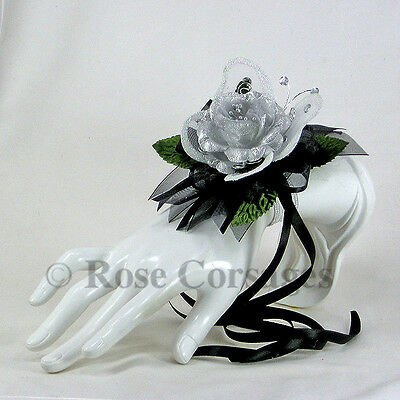 Silver Satin Rose on Black  Jeweled Butterfly Wrist Corsage