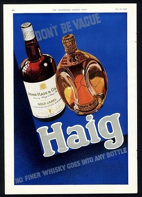 HAIG Scotch Whiskey Ad 1935 with color portrait GEORGE V Order of the Garter