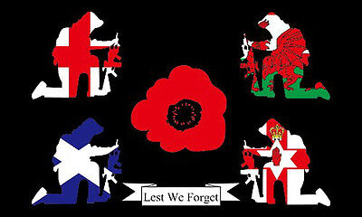 BRITAIN REMEMBERS LEST WE FORGET FLAG LARGE 5 x 3 FT - WW1 WW2 Poppy Remembrance