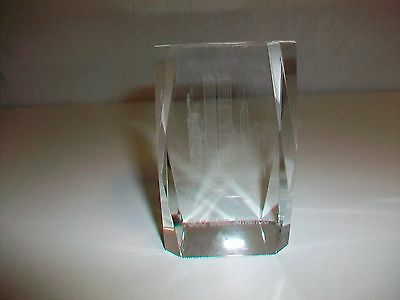 God Bless America Twin Towers Statue of Liberty New York Glass Paperweight