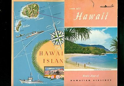1953 Brochure Hawaiian Airlines Route Map