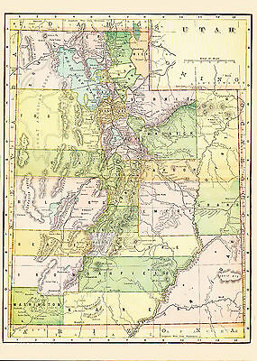 1896 Color Map of UTAH - Different county structure