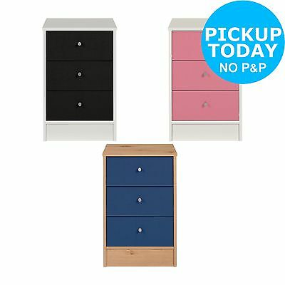 New Malibu 3 Drawer Bedside Chest - Choice of Black/Pink/Blue-From Argos on ebay
