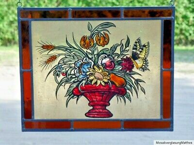 "Leaded Glass Window Picture Rare Glass Art Disc ""Bouquet of Summer Flowers"""
