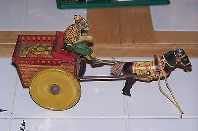 Antique Strauss Jenny the Balky Mule Wind-Up Tin Toy, Great Parts Toy !!!