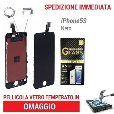 Touch Screen + Lcd Display Retina Frame Vetro Schermo Per Apple Iphone 5S Nero