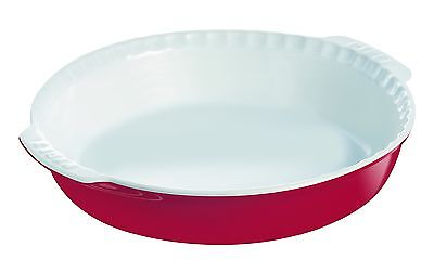 Pyrex 26 cm Round Stoneware Impressions Pie Dish with Handles Red
