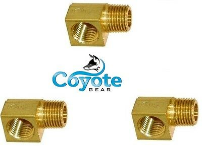"3 Pack of 1/8"" Street 90 Degree Elbow Brass Pipe Fitting NPT Thread Male  Female"