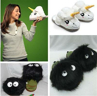 Fashion Women Unicorn Totoro Soft Plush Indoor Slippers Shoes Warm Winter - LD