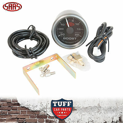 SAAS Turbo Boost Vacuum Gauge Black Face Dial 52mm Multi Colour + Fitting Kit