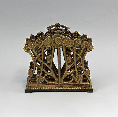 Letter rack /Napkin stand Art nouveau blumenmuster Burnished brass new 9977236