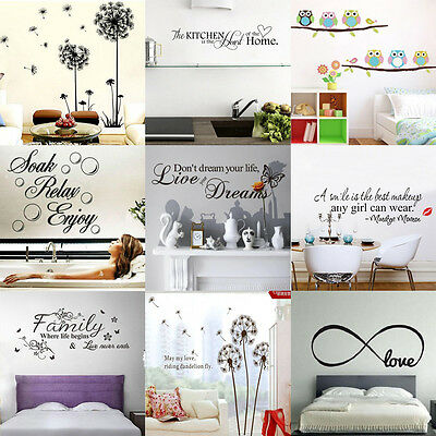 12 styles Removable Stickers Vinyl Wall Decal Decor Art Bathroom Kitchen Bedroom