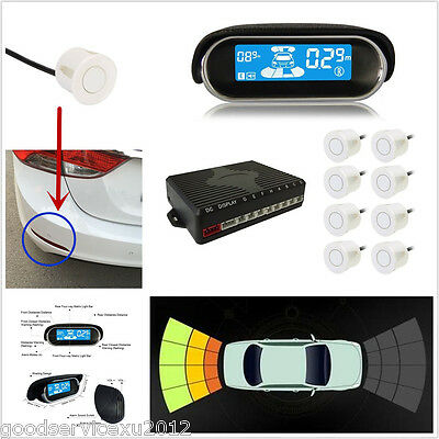 White Parking 8 Sensors Autos Reverse Backup Rear Radar Buzzer Alert System Kit
