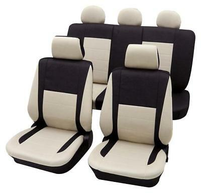 Black & Beige Elegant Car Seat Cover set - For Opel Corsa C 2000-2007
