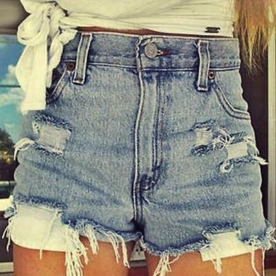 New Sexy Ladies Summer Ripped Womens High Waisted Denim Shorts Jeans Hot Pants
