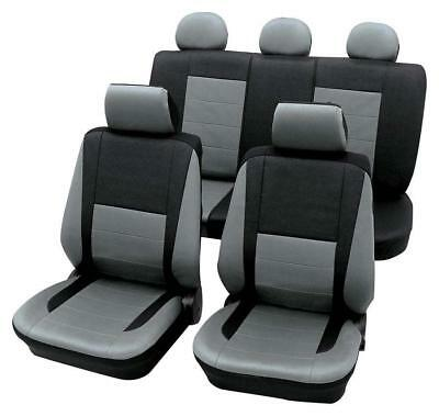 Leather Look Grey & Black Car Seat Covers - For Mercedes C-Class 2000-2007
