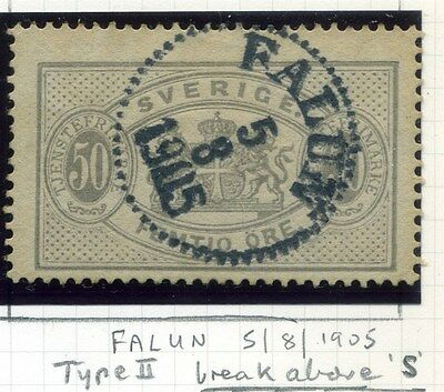 SWEDEN;  1881-96 classic Official issue Perf 13, fine used 50ore. ,Falun