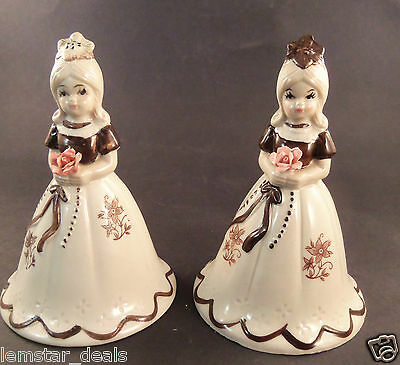 Set of 2 Bell Girls Holding Flower Creams and Browns Hand Painted Flower