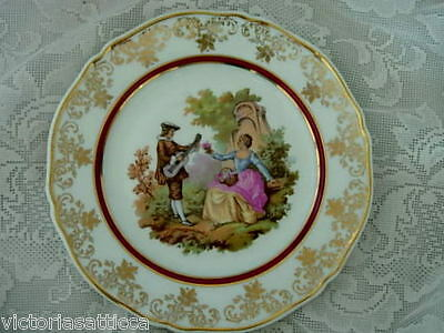 Collectible LIMOGES 1700s Scene Plate- Burgundy/Ornate Gold Rim - Made in France