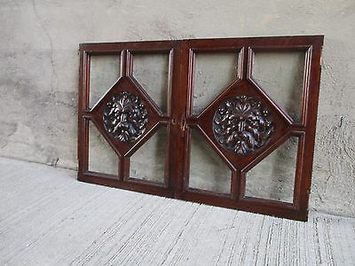 Antique Victorian Pair Carved Oak Wood Zeus Cabinet Doors - w/ Beveled Glass
