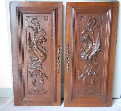 Pair French Antique OAKWOOD Doors PANELS PLAQUES DRAGONS