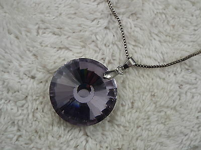 Silvertone Purple Faceted Faux Crystal Pendant Necklace (A40)