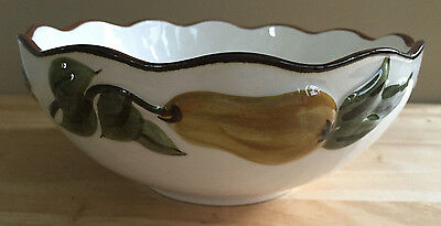 """Vintage Stangl Pottery 8-1/2"""" Bowl Sculptured Fruit Pattern Hand Painted"""