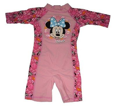 Girls Swimsuit Uv-Sunsuit All Inn One Disney Minnie Mouse Pink