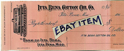 1906 Bank check ITTA BENA COTTON SEED OIL COMPANY Mississippi GREENWOOD Yazoo