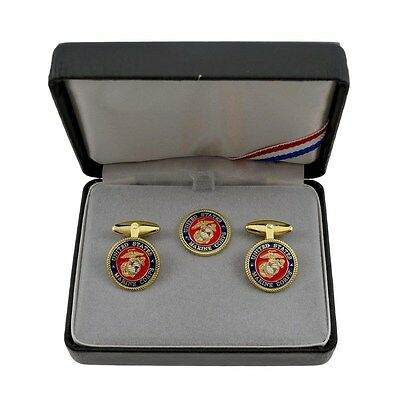 US Marine Corps Logo Cuff Link Tie Tack Set w Leather Case USMC Military Veteran