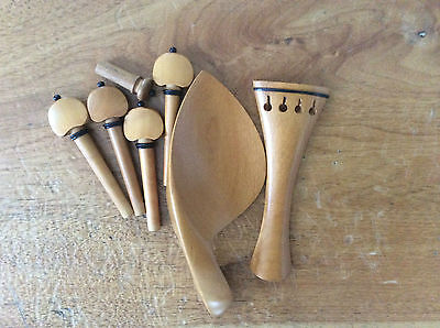 Nice violin fittings 4/4 natural boxwood chinrest tailpiece endpin pegs