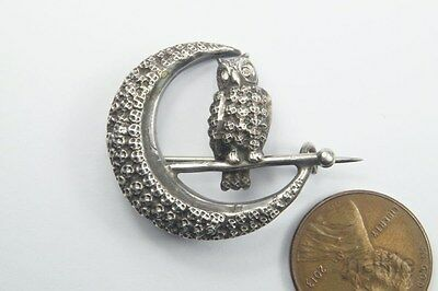ANTIQUE VICTORIAN ENGLISH STERLING SILVER CRESCENT MOON & OWL BROOCH c1890