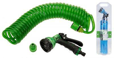 7.5 Meter Flexible Spiral Garden Watering Hose Pipe, Spray Nozzle & Fittings Set