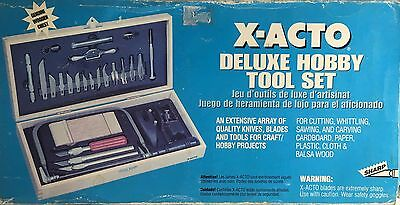 X-Acto No.x5087 Deluxe Hobby Tool Set Made In Usa Genuine Wood Chest Xtra Blades