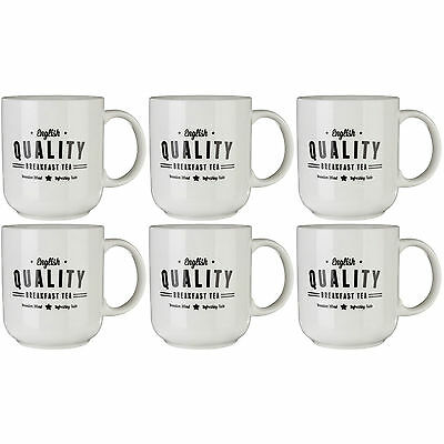 Set Of 6 370ml Red Specialty Mugs Novelty Stoneware Tea Coffee Latte Drinks Cups
