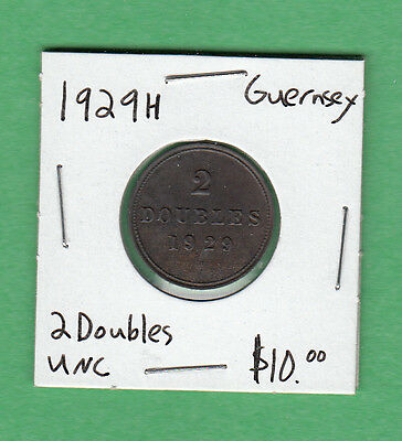1929H Guernsey - 2 Doubles - Uncirculated
