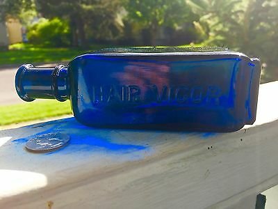 Rare Saphire Blue Emb. Ayer's Hair Vigor Bottle Handtooled Top