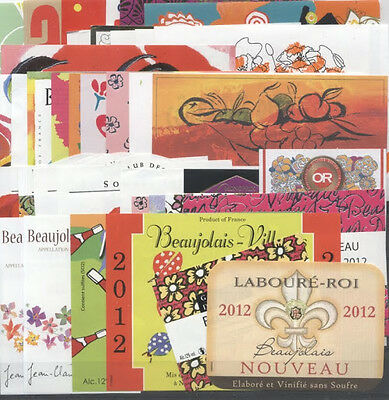 Beautiful Lot Of 38 French Wine Labels - Beaujolais Nouveau 2012 - Free Shipping