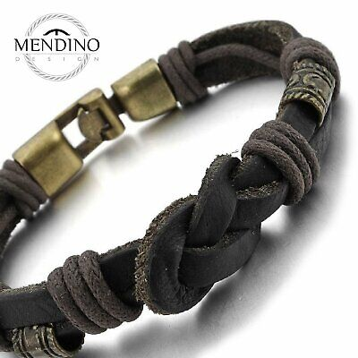 MENDINO Mens Leather Cord Bracelet Braided Rope Love Infinity Symbol Cuff Bangle