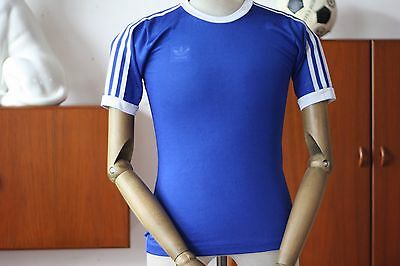 adidas Trikot Spielerhemd blau West Germany TRUE VINTAGE 70er sports shirt blue