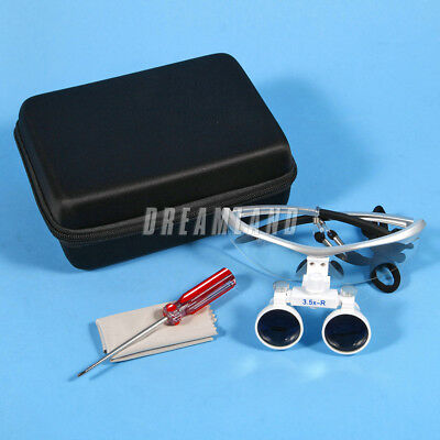 New Dental Surgical Binocular Loupes Magnifier Glasses White 3.5X-R